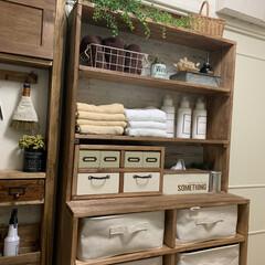 棚DIY/無印/木工/わんこ同好会/雑貨/ハンドメイド/... 洗面所の棚の一番下にボックス式引き出しを…