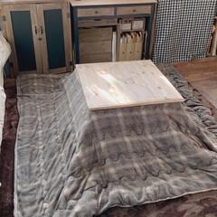 作業部屋/ウォルナット/木工/コタツ布団ニトリ/コタツ天板diy/男前ナチュラル 私の部屋のコタツテーブルはもともと長方形…