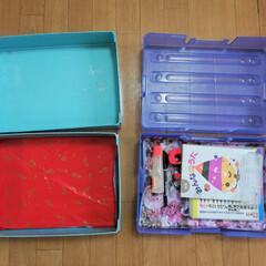 お道具箱/掃除/汚れ予防/包装紙/子ども/春休み/... お道具箱に紙を敷いておくだけで、汚れ予防…