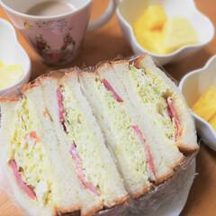 サンドイッチ/ボリューム/お腹いっぱい/八枚切/食パン/腹持ちがいい/... 朝食にサンドイッチ。ボリュームがあるから…