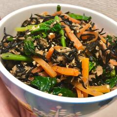 ひじき/ほうれん草/ツナ/レンジ調理/時短/わたしのごはん/... レンジで簡単に作る、ツナ入りのひじき煮で…