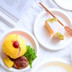 サンナップ/紙皿/おしゃれ/インスタ映え/朝食/おやつ/... 涼しい夏の朝。 少し早起きして、お外で贅…