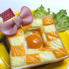 食パン/グルメ/フード/スイーツ/DIY/キッチン/... チェダーチーズと普通のチーズでブロック…
