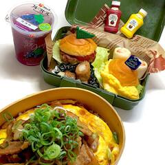 ハンバーガー/のっけ弁/お弁当/雑貨/おしゃれ/スタミナ丼/... 今日のお弁当🍱 三女にはこういうお弁当久…
