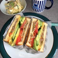 サンドイッチ/お昼ごはん/ブランチ/暮らし/節約 お昼ご飯。トーストサンド。マカロニサラダ…