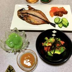 ゆる糖質制限/晩ご飯/晩酌ご飯/おうちごはん/簡単/時短レシピ/... 晩酌ご飯です。 アジの干物。きゅうりの浅…