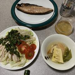 お取り寄せグルメ/晩酌ご飯/ニラだれ/おうちごはん/簡単/暮らし/... 晩酌ご飯です。 鯖の文化干し。(お魚を盛…