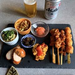 簡単レシピ/作り置きレシピ/お取り寄せ/晩酌ご飯/暮らし/節約 晩酌ご飯です。お取り寄せの華味鳥の焼き鳥…