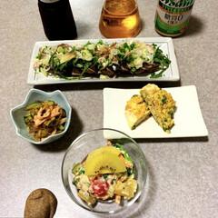 アサヒ  スタイルフリー/残り物/きのぴさん/お取り寄せ/白和え/作り置き/... 晩酌ご飯です。 鰹のたたき(玉ねぎ、みょ…