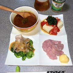 明宝ハム/アサヒスタイルフリー/カレー/ゆる低糖質/おうちごはん/節約/... 晩酌ご飯。 カレーのみ(ブロッコリー、ご…
