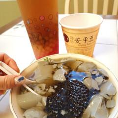 台南/台湾/スイーツ/豆花/豆腐/ヘルシー/... 台南で食べた、タピオカたっぷり炭の豆花!…