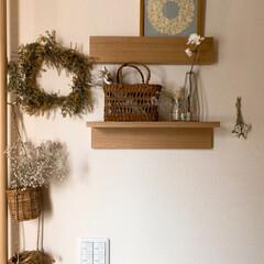 北欧/デザイン/整理整頓/収納アイデア/インテリア雑貨/暮らし/... 玄関インテリアの模様変え。手作りのスワッ…
