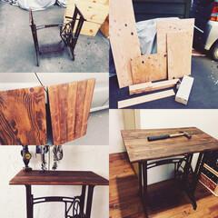 ホームセンター/テーブル/リメイク/ミシン台 ミシン台をテーブルにリメイク