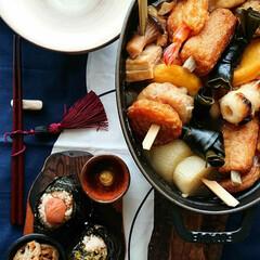 白だし/大根/骨付き鶏肉/おでん/我が家のテーブル/置き弁/... 晩ごはん 🔸骨付き鶏のおでん 🔸フンワリ…