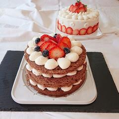 ネイキッドケーキ/手作りおやつ/デコレーションケーキ/ショートケーキ/手作りケーキ/LIMIAごはんクラブ/... 先日作ったショートケーキ🍰   ココアの…(1枚目)