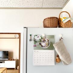 暮らし/日々/社宅/台所/キッチン 冷蔵庫の横。 出来れば表面には何も貼りた…