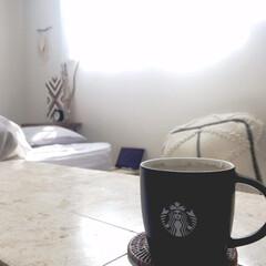 ロゴマグブラック Starbucks スターバックス 300ml | スターバックス(マグカップ)を使ったクチコミ「しあわせな時間… コーヒータイム☕️」