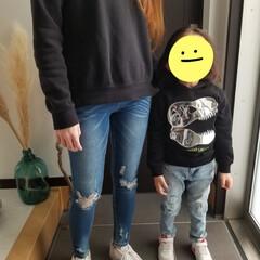 リンクコーデ/親子コーデ/H&M/ダメージデニム/NIKE/スニーカー 息子とリンクコーデ👕👖👟💕  息子の服は…