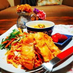 家庭料理/おうちごはん/ワンプレート/スパゲティー/スープ/サラダ/... おはようございます👋😃☀️  昨晩の夕食…(1枚目)