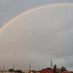はじめてフォト/虹/景色/きれい/綺麗/初心者/... 虹が2本ありました!雨の中おもわず自転車…