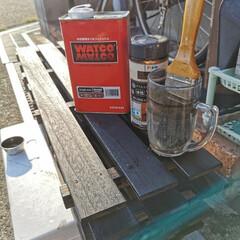 ワトコ社 ワトコオイル浸透性木材用塗料 エボニー 1L W-10(ペンキ、塗料)を使ったクチコミ「「玄関収納、靴棚完成!」なのだワン!🐾 …」(4枚目)
