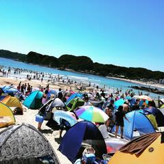テント/色とりどり/海水浴/守谷海水浴場/ブルー 青い海に色とりどりテントが映えます✨
