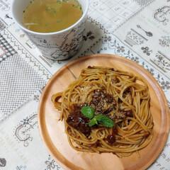 コンソメスープ/ボロネーゼ/令和元年フォト投稿キャンペーン/令和の一枚/フォロー大歓迎/至福のひととき/... . たま~に食べたくなる🍝 今日のお昼は…