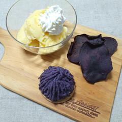 手作りおやつ/おやつ/生落花生/紫芋 11月7日のおやつ 紫芋💜と生落花生🥜を…