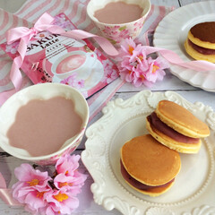 わたしのごはん/桜のどら焼き/どらやき/桜スイーツ/桜ラテ 春を感じる桜のどら焼きを作りました^ ^…