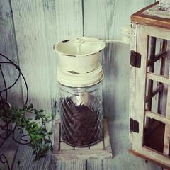 リメイク瓶/ヴィンテージ風/アンティーク風塗装/ナチュラルインテリア/コーヒー/カフェ風/... アンティークコーヒーミル風を作りました。…