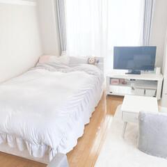IMINOARU アンティーク風 掛け布団カバー 寝具カバー4点セット 布団カバー ベッドスカート 枕カバー2枚 フリル付き 無地 ホワイト グレー(布団干し)を使ったクチコミ「近々キッチンのDIYを行うので、完成した…」