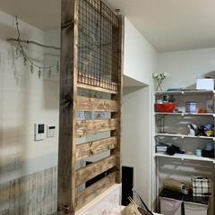 パーテンション/カフェ風インテリア/カフェ風/キッチン/DIY/インテリア/... キッチンにパーテンション 仕切りをDIY…