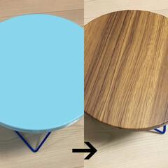 DIY/テーブル/ウッド調/貼り替え/ズボラ/簡単/... ミニテーブルが数分でイメージチェンジ! …(1枚目)