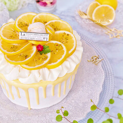 フリル/黄色/手作りおやつ/グラサージュ/柑橘/手作りケーキ/... 見た目はレモン 食べるとオレンジのような…