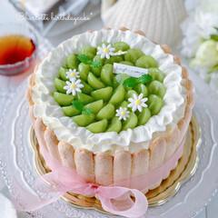 happybirthday/cake/sweets/デコレーションケーキ/お誕生日ケーキ/バースデーケーキ/... 🎂シャルロットケーキ  お友達の娘ちゃん…