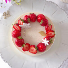 STRAWBERRY/cake/Cafe/sweets/いちごケーキ/手作りデザート/... 🍓ホワイトチーズムースケーキ  大好きな…(2枚目)