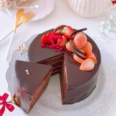 STRAWBERRY/chocolate/Cafe/cake/sweets/手作りデザート/... 🍫チョコレートケーキ  4層のケーキにチ…