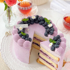 cake/Cafe/blueberry/sweets/手作りおやつ/手作りデザート/... ブルーベリーショートケーキ💜  ブルーベ…