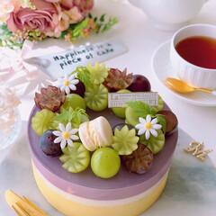 レアチーズケーキ/チーズケーキ/シャインマスカット/ピオーネ/秋の味覚/手作りお菓子/... 🍇贅沢ぶどうのレアチーズケーキ  ピオー…(2枚目)