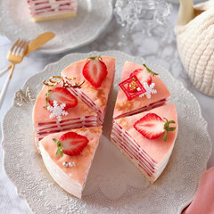 STRAWBERRY/Christmas/クリスマス/cake/Cafe/sweets/... 🍓苺のミルクレープケーキ  ケーキのよう…(3枚目)