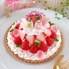 Cafe/cake/STRAWBERRY/sweets/手作りおやつ/手作りケーキ/... 🌸ひな祭りタルト  明日は桃の節句、ひな…