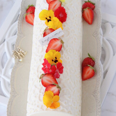 レモン/手作りデザート/手作りお菓子/手作りスイーツ/手作りおやつ/手作りケーキ/... 🍋レモンチーズケーキ  赤×黄のエディブ…(4枚目)