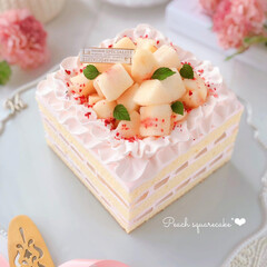 peach/Cafe/cake/sweets/萌え断/手作りスイーツ/... 🍑桃のスクエアケーキ ちょっとお祝いに …