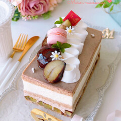 Cafe/cake/sweets/オータムカラー/ムースケーキ/お菓子作り/... 🌰マロンムースケーキ  栗の渋皮煮を使っ…
