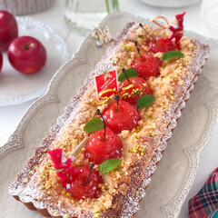 Apple/Cafe/cake/sweets/おうちカフェ/手作りデザート/... 🍎姫りんごのタルト  今回は焼いたver…(3枚目)