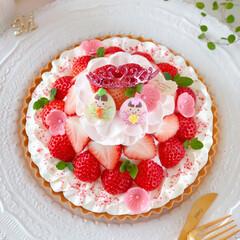Cafe/cake/STRAWBERRY/sweets/手作りおやつ/手作りケーキ/... 🌸ひな祭りタルト  明日は桃の節句、ひな…(2枚目)