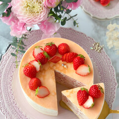 crepe/Cafe/cake/STRAWBERRY/sweets/おうちカフェ/... 🍓いちごのミルクレープ  いちごたっぷり…(2枚目)