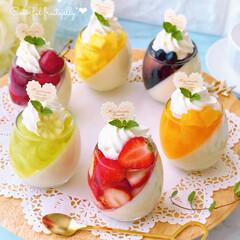 お菓子作り/フルーツゼリー/斜めゼリー/カップスイーツ/ひんやりスイーツ/ゼリー/... セリアのミニグラスを使って フルーツゼリ…