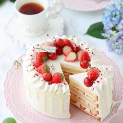 ショートケーキ/さくらんぼ/お菓子作り/STRAWBERRY/cake/Cafe/... 🍓デコレーションケーキ  この時季の貴重…(3枚目)