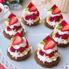 クリスマス/Christmas/STRAWBERRY/sweets/Cafe/cake/... 🍓いちごミニタルト  シルフォームで作っ…